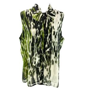 Chaus Green & Black Print Button Up Bow Neck Top